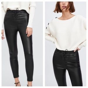 Zara faux leather lace up leggings